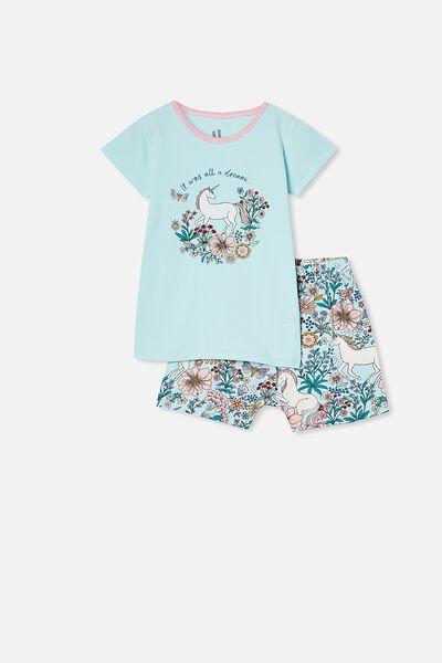 Harpa Short Sleeve Pyjama Set, FLORAL UNICORN DREAM BLUE