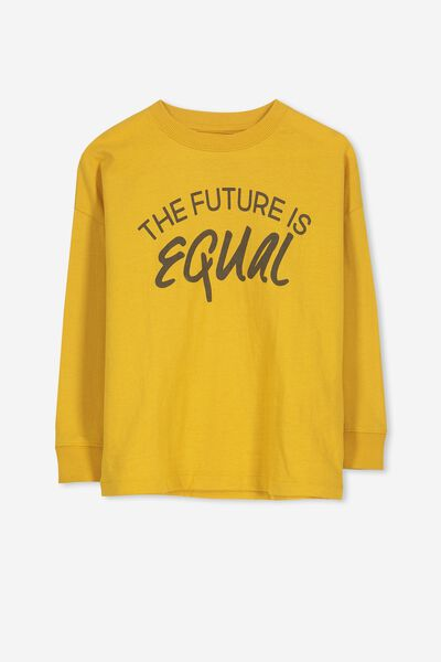 Tom Loose Fit Tee, GOLD GLOW/ THE FUTURE IS EQUAL. Cotton On Kids