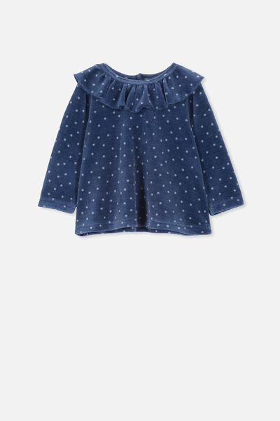Alice Velour Ruffle Neck Top, MID BLUE SPOT