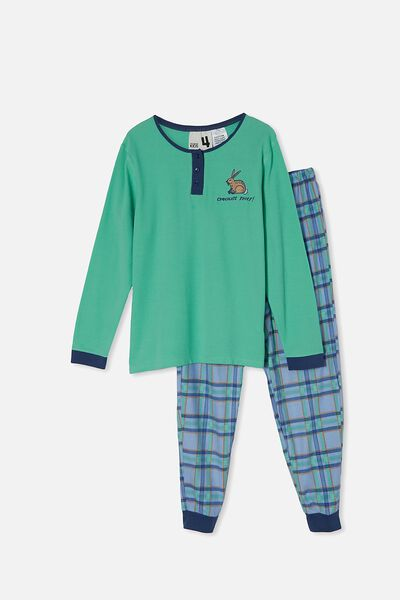 Jamie Adults Unisex Waffle Flanellette Long Sleeve, CHOCOLATE THEIF/MINT BREEZE