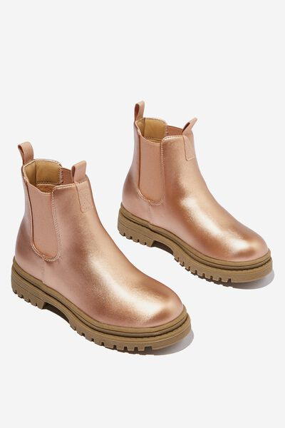 Pull On Gusset Boot, MATTE ROSE GOLD