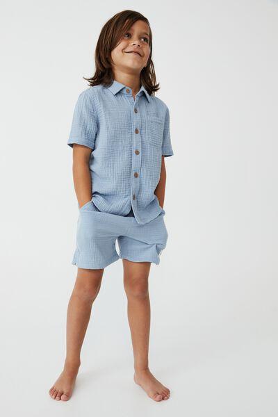 Resort Short Sleeve Shirt, DUSTY BLUE/CHEESECLOTH