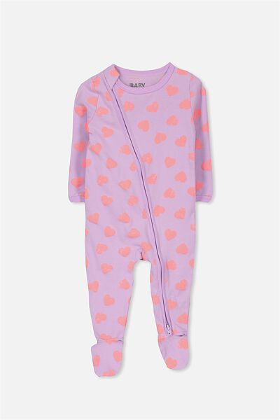 Sleep Mini Zip All In One Jumpsuit, ORCHARD BLOOM/HEARTS