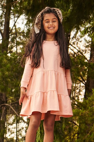 Angie Long Sleeve Dress, PASTEL PEACH