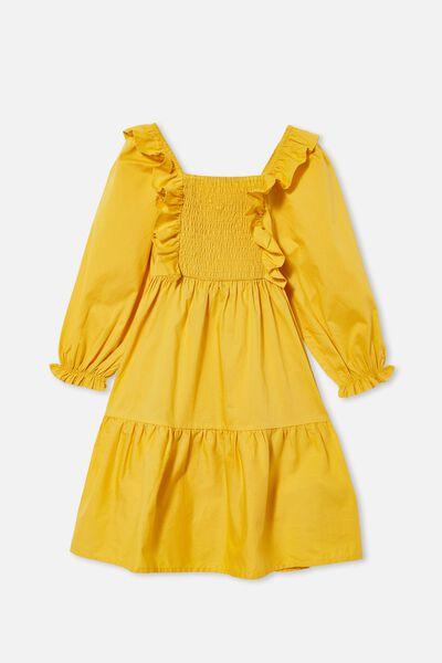 Jenna Long Sleeve Dress, HONEY GOLD