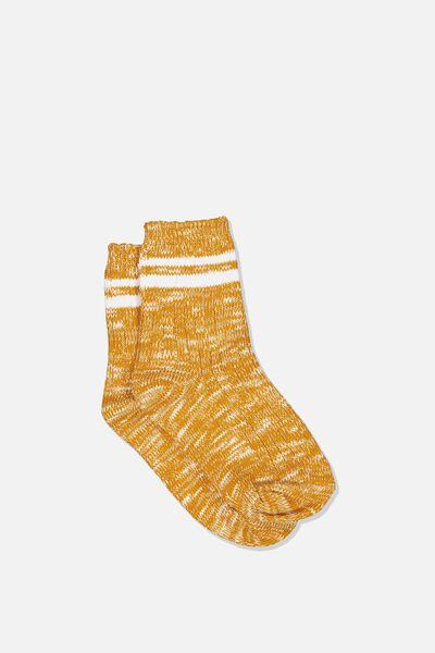 Chunky Knit Crew, GOLDEN ROD STRIPE
