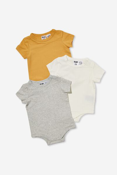 3 Pack Short Sleeve Bubbysuits, VINTAGE HONEY/CLOUD MARLE/VANILLA