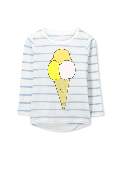 Penelope Long Sleeve Curved Hem, VANILLA/EXCLUSIVE BLUE ICE-CREAM