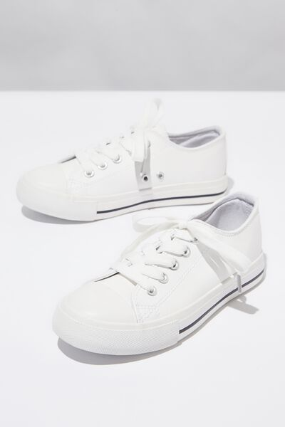 Classic Trainer Lace Up, WHITE SMOOTH