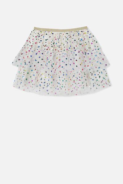 Trixiebelle Tulle Skirt, VANILLA/RAINBOW SPOTS