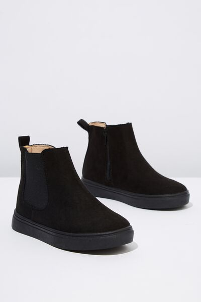 Darcy Gusset Boot, BLACK MICROSUEDE