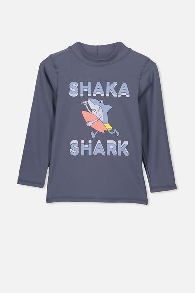 Flynn Long Sleeve Rash Vest, VINTAGE NAVY SHAKA SHARK