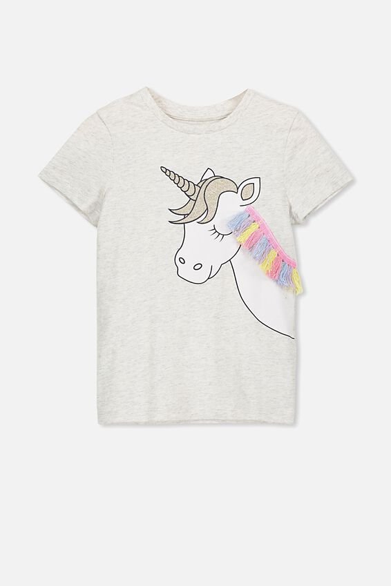 Stevie Ss Embellished Tee, SUMMER GREY MARLE/UNICORN FRINGE/MAX
