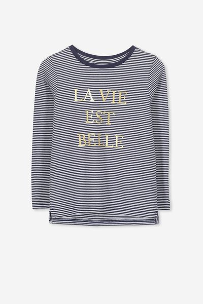 Penelope Long Sleeve Tee, PEACOAT STRIPE/LA VIE EST BELLE/SET IN
