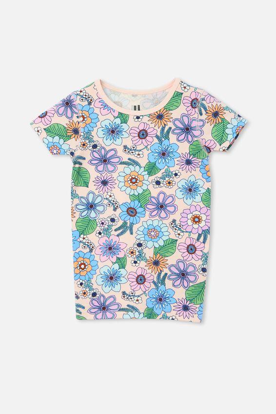 Nikki Short Sleeve Pyjama Set, RETRO FLORAL/CRYSTAL PINK