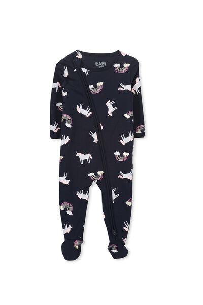 Sleep Mini Zip All In One Jumpsuit, TWILIGHT/LEAPING UNICORNS