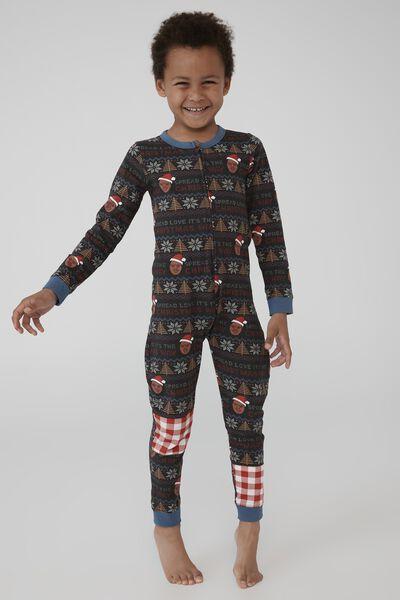Kids Unisex Snug Long Sleeve All In One Licensed, LCN MT BIGGIE FAIRISLE PHANTOM