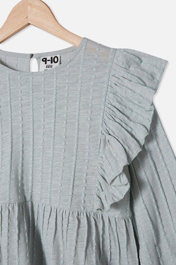 Juno Long Sleeve Frill Top, STONE GREEN
