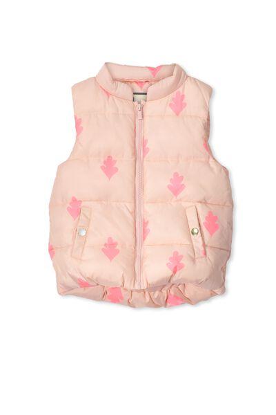 Matilda Puffer Vest, SEA PINK/TAHITIAN LEAF