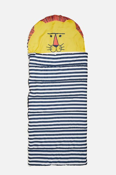 Kids Novelty Sleeping Bag, LION BLUE STRIPED