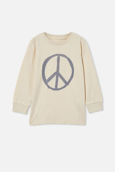 Max Long Sleeve Tee, DARK VANILLA/STEEL PEACE SIGN