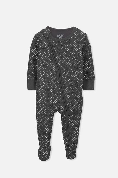 Mini Zip Footed Romper, GRAPHITE GREY/VANILLA SPOT