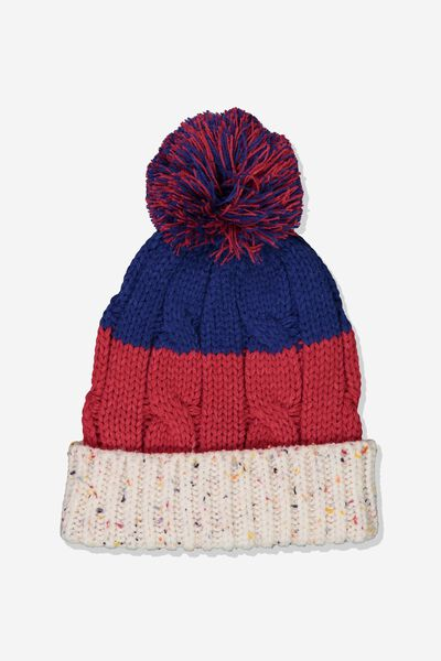 Winter Knit Beanie, COLOUR BLOCK/POM POM