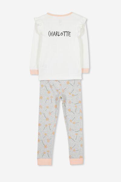 Personalised Alicia Girls Long Sleeve Pyjama Set, DAISY BUNNY PERSONALISED