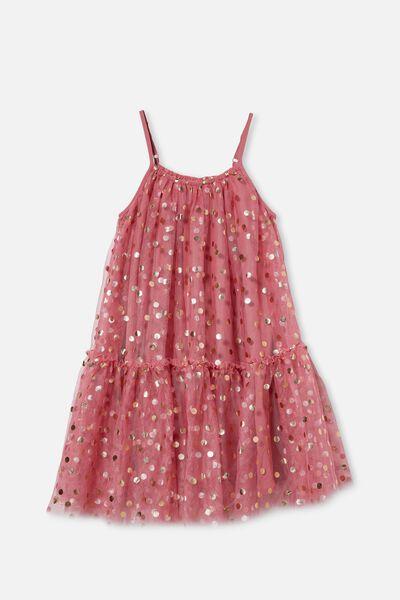 Iggy Dress Up Dress, VERY BERRY/ROSE GOLD SPOT
