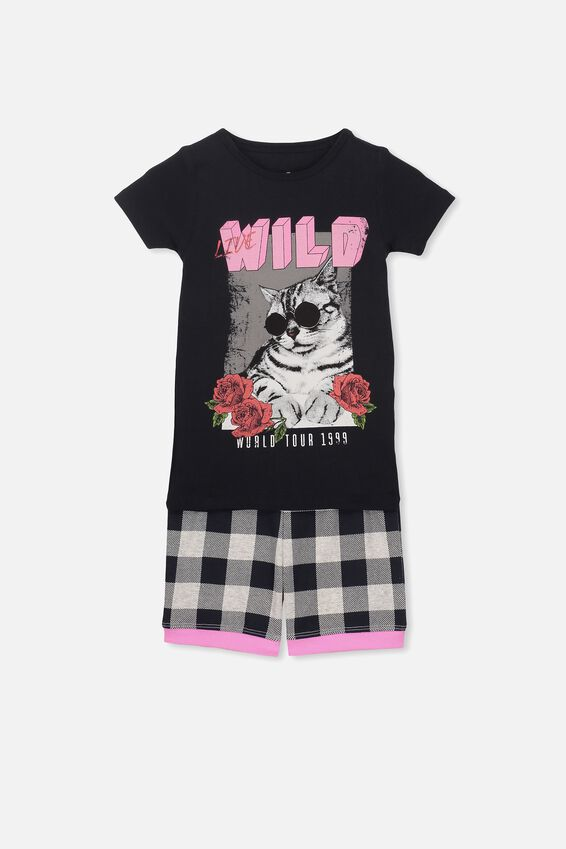 Nicole Short Sleeve Girls Pj, LIVE WILD CAT