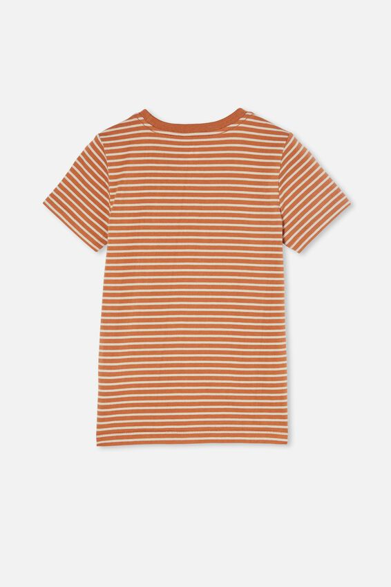 Core Short Sleeve Tee, AMBER BROWN/RAINY DAY STRIPE