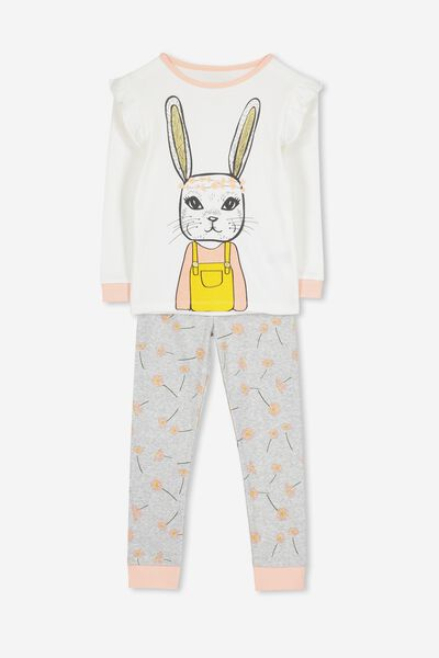 Alicia Long Sleeve Girls PJ Set, DAISY BUNNY