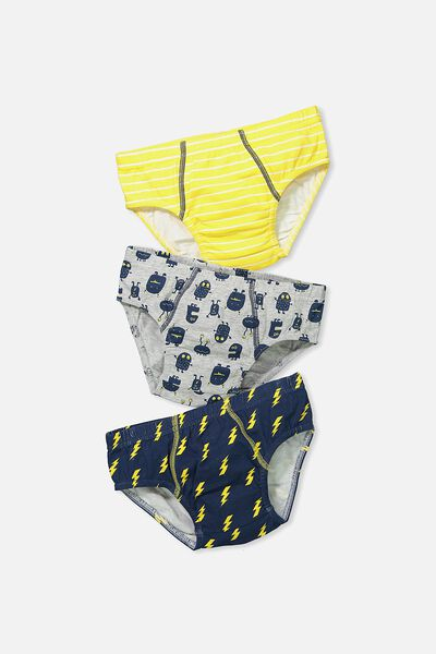 Boys 3Pk Briefs, MONSTERS AND STRIPES MIX