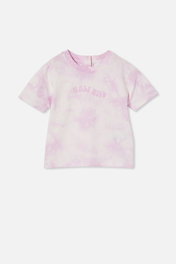 Parker Drop Shoulder Short Sleeve Tee, PALE VIOLET TIE DYE/HALF WILD HALF CHILD