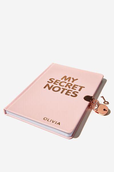 A5 Secret Notebook Personalisation, PINK SECRET
