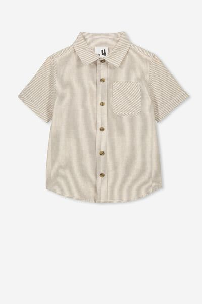 Resort Short Sleeve Shirt, NATURAL VANILLA STRIPE