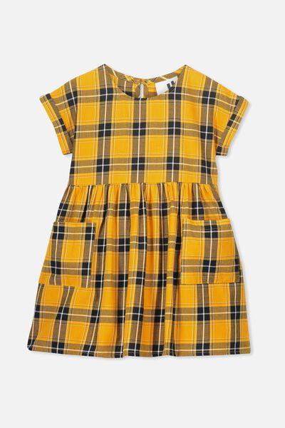 Malia Short Sleeve Dress, GOLDEN ROD CHECK