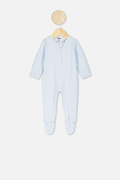 The Long Sleeve Zip Romper, CHRIS STRIPE WHITE WATER BLUE/WHITE