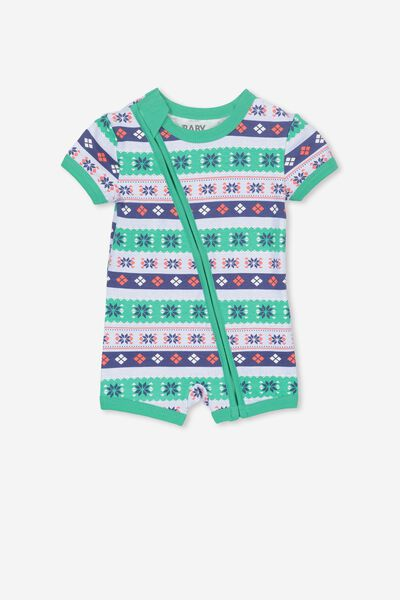Mini Ss Zip Through Romper, VANILLA/XMAS PATTERN STRIPE