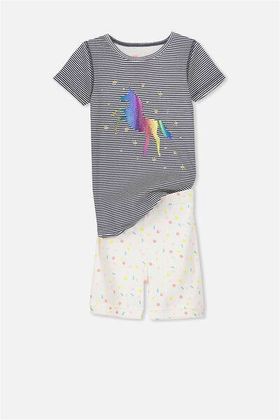 Nicole Short Sleeve Girls Pj, UNICORN RAINBOW