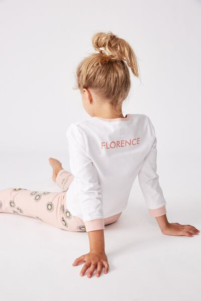 Florence Long Sleeve Pj Set Personalised, WHITE/ZEPHYR FLORAL BUNNY