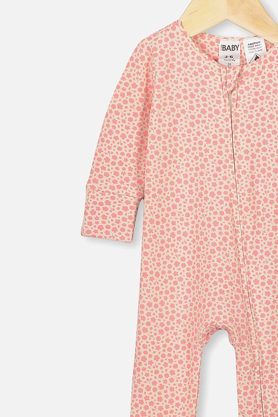 The Long Sleeve Zip Romper, RETRO CORAL/EDITH FLORAL