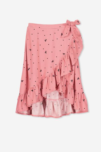 Ria Ruffle Midi Skirt, RUSTY BLUSH UNICORN