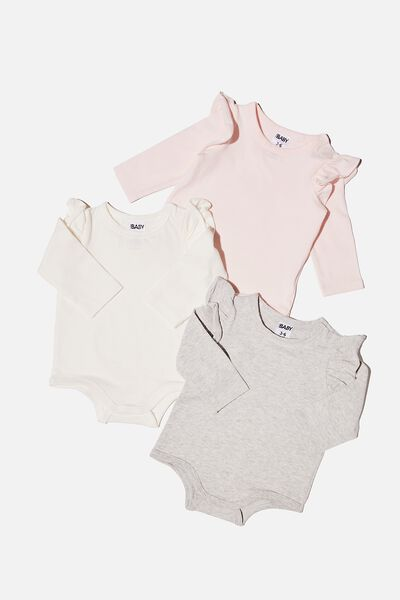 3 Pack Long Sleeve Ruffle Bubbysuit, CRYSTAL PINK/CLOUD MARLE/VANILLA