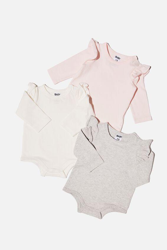 3 Pack Long Sleeve Ruffle Bubbysuit, CRYSTAL PINK/CLOUD MARLE/VANILLA