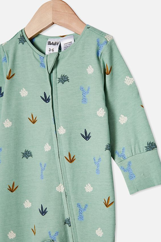The Long Sleeve Zip Romper, SMASHED AVO/CACTUS PARTY