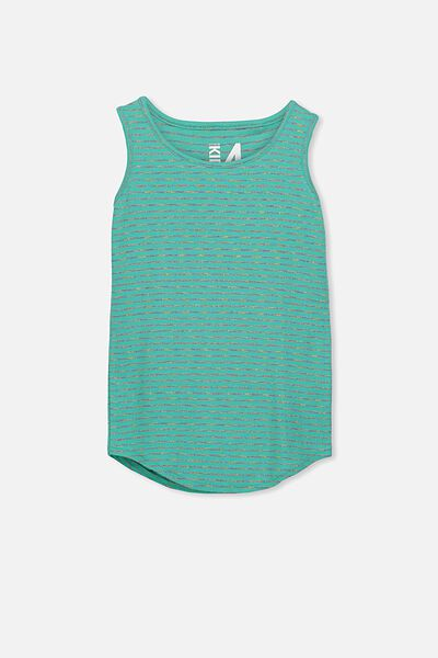 Brooke Singlet, AQUA GREEN/RAINBOW STRIPE