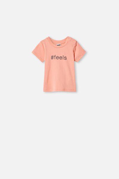 Jamie Short Sleeve Tee, SMOKED SALMON/#FEELS