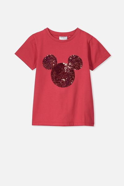 Lux Short Sleeve Tee, LCN DIS LUCKY RED/MICKEY HEAD REVERSE SEQUIN/MAX