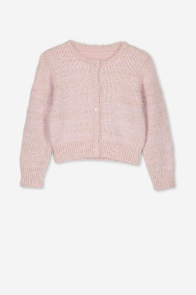 Liana Fluffy Cardigan, BLUSH/GOLD